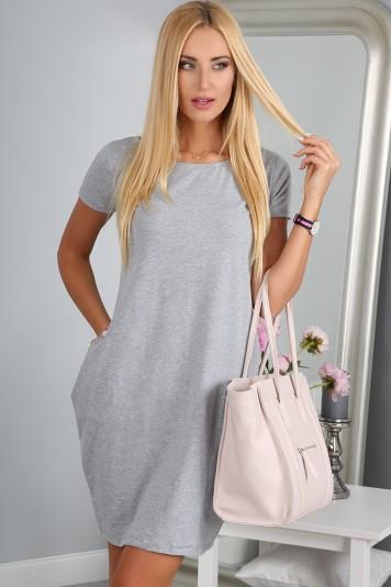 Šaty sivé s krátkym rukávom