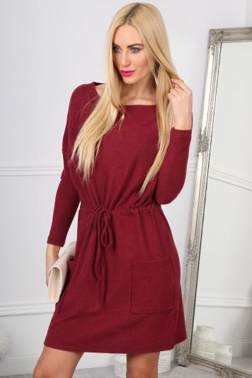 Trendy, bordové mini šaty na gumičku s vreckom.