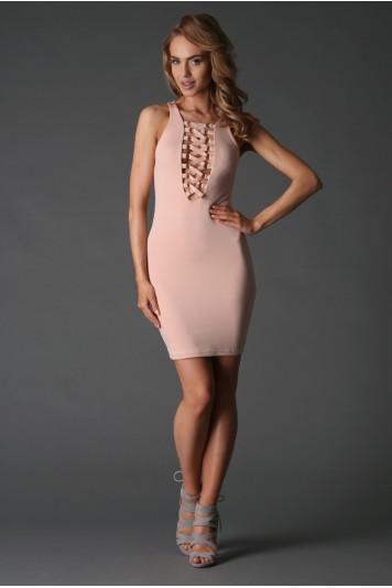 Extravagantné púdrové mini šaty