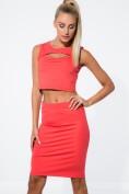 Súprava korálovej sukne s vysokým pásom a croptopu.