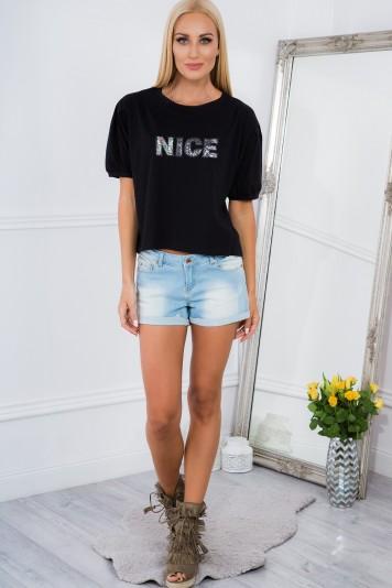 Čierne tričko s flitrami NICE.