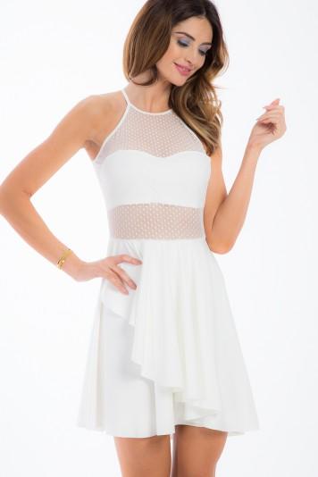 Sexi, smotanové šaty s priesvitnými, šifónovými časťami.