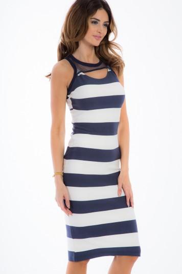 Navy, letné, pruhované šaty so šifónom.