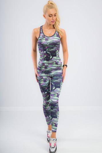 Športové, elastické, vzorované, fialové legíny.