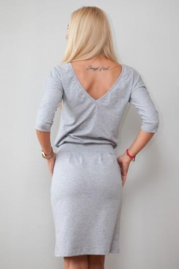 Štýlové sivé šaty s viazaním okolo pásu