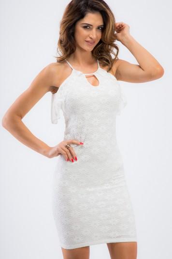 Elegantné, smotanové, mini šaty s volánikmi.
