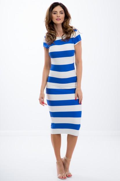 70135b064860 Letné pásikavé modré midi šaty s krátkym rukávom - FASARDIofficial ...