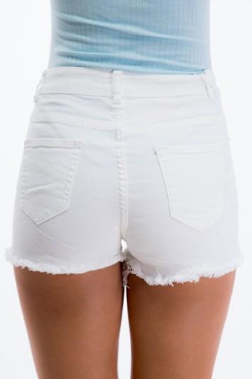 Biele, roztrhané šortky s vybíjancami