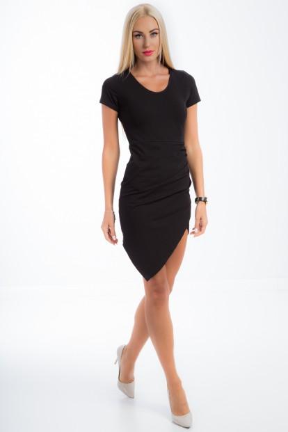 Letné, krátke, čierne asymetrické šaty