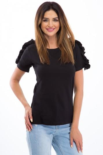 Tričko s volánmi na krátkych rukávoch, čierne
