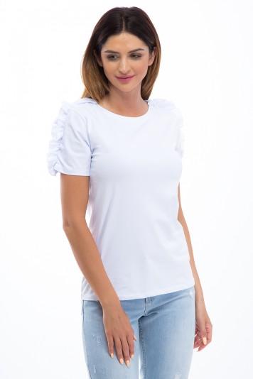 Tričko s volánmi na krátkych rukávoch, biele