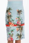 Letná, svetlomodrá, puzdrová, kvetovaná sukňa