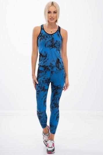 Vzorované, modré, fitness legíny.