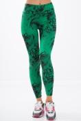 Vzorované, zelené, fitness legíny.
