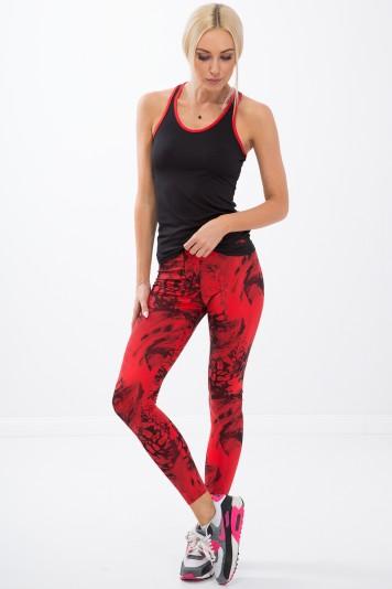 Vzorované, červené , fitness legíny.