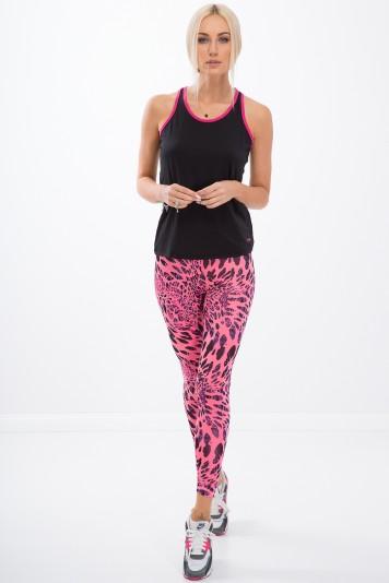 Ružové, fitness legíny so so zvieracími vzormi.