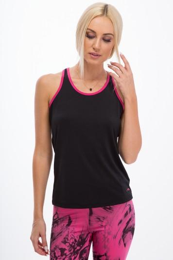 Trendy, čierny fitness top s ružovými okrajmi.