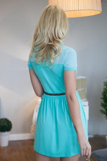 Sexi mint mini šaty s krátkymi rukávmi.