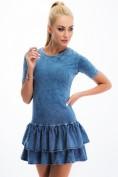 Modré šaty s imitáciou jeansoviny.