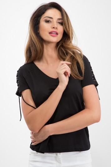 Bavlnené tričko s krátkym rukávom a  štýlovou šňurovačkou, čierne