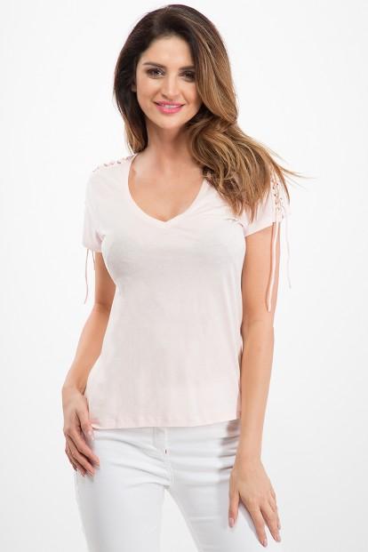 Bavlnené tričko s krátkym rukávom a  štýlovou šňurovačkou, ružové