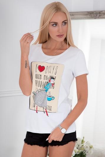 Biele tričko so štýlovou potlačou