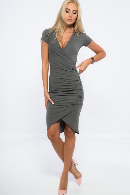 Nazberkané, asymetrické, šedé, šaty.