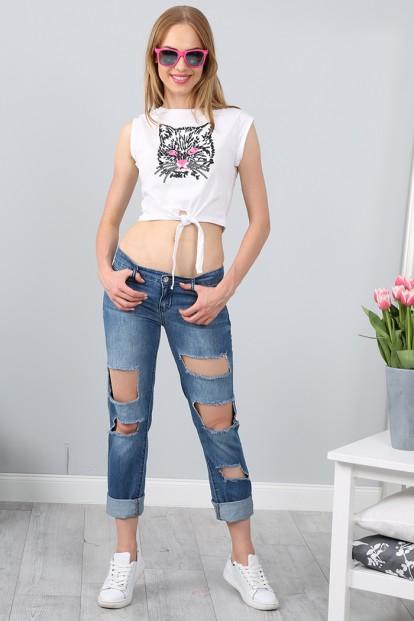 Štýlové roztrhané boyfriend jeansy