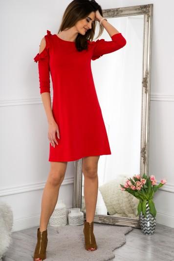0bb5f765e5 Červené šaty s výrezmi na pleciach a volánmi - FASARDIofficial.sk ...