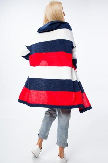 Modro- červený blejzer s kapucňou