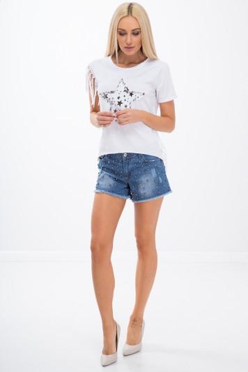 Džínsové šortky s korálikmi
