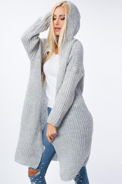Dlhý sveter s bočnými vreckami a kapucňou, sivý