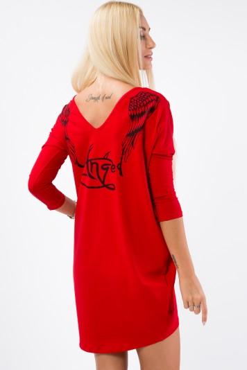 Anjelska tunika s vreckami a potlačou na chrbte, červená
