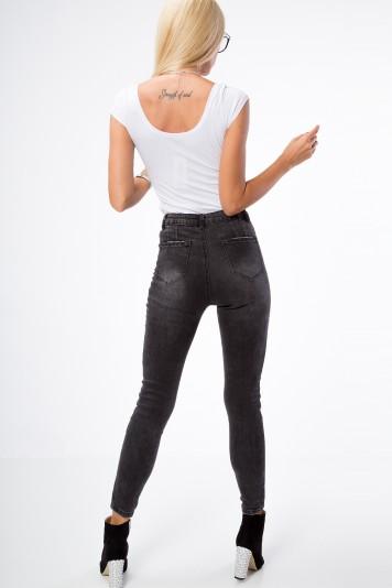 Štýlové, rifľové nohavice s vysokým pásom a roztrhanou aplikácio
