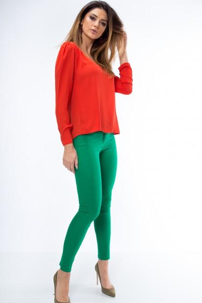 Pohodlné, obtiahnuté nohavice s vreckami, zelené