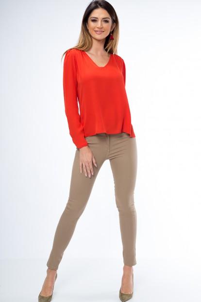 Pohodlné, obtiahnuté nohavice s vreckami, karamel