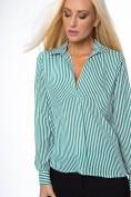 Pruhovaná košeľa klasického strihu so zapínaním na gombíky, zelená/biela