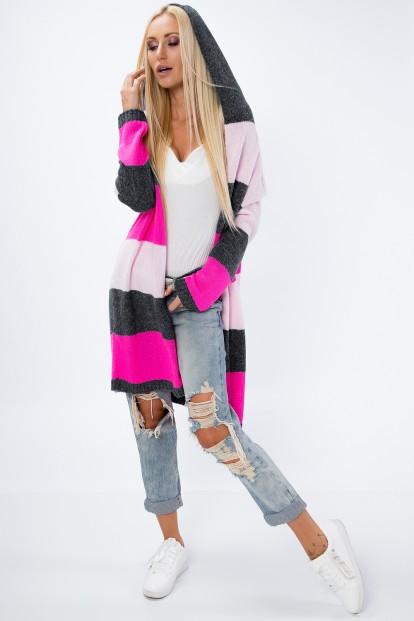 Predĺžený sveter s kapucňou, PINK/GRAPHITE