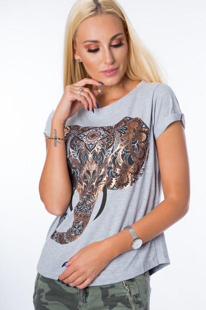 Tričko s krátkym rukávom a nádhernou potlačou slona na prednej strane, sivé