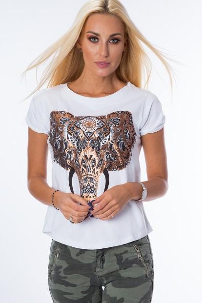 Tričko s krátkym rukávom a nádhernou potlačou slona na prednej strane, biele