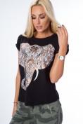Tričko s krátkym rukávom a nádhernou potlačou slona na prednej strane, čierne