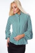 Pásikovaná košeľa so zvonovými rukávmi, zelená/ biela