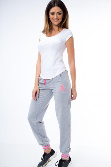 Štýlové teplákové nohavice v krásnom farebnom prevedení, sivá/ružová