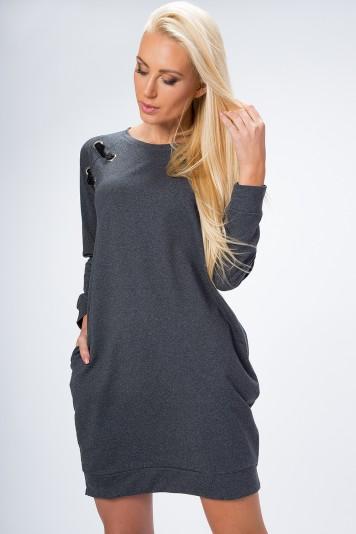 Šaty na chladné dni s bočnými vreckami a aplikáciou na ramene, šedé