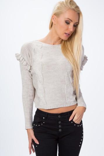 Nadčasový sveter v crop top štýle, béžový