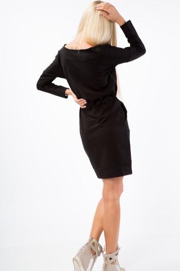 Bavlnené šaty so sťahovaním v páse, s dvomi bočnými vreckami, čierne