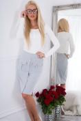 Štýlová sukňa s radom gombíkov a bočnými vreckami, sivá