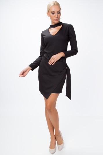 Asymetrické, zavinovacie šaty s chorekom a dlhým rukávom, čierne