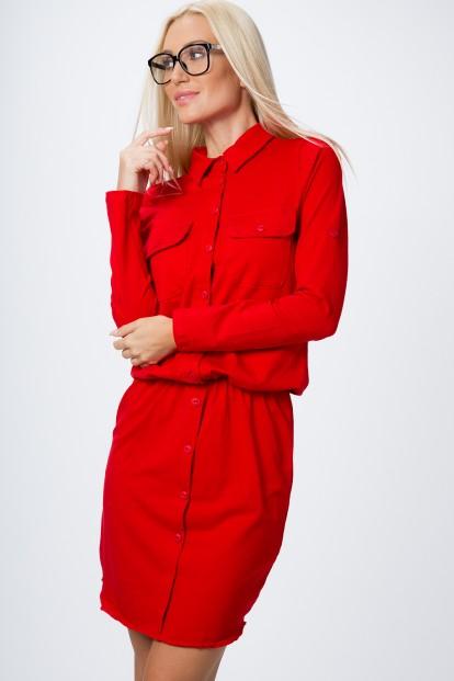 Bavlnené šaty s dlhým rukávom a zapínaním na gombíky, červené
