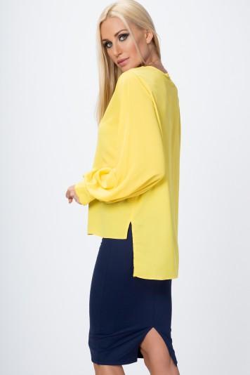 Asymetrická košeľa s manžetami, žltá